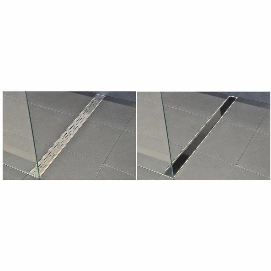 AQS Glasrooster Tbv RVS Douchegoot 90x7 cm Zwart