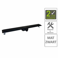 AQS Douchegoot Flens Met Uitneembaar Sifon 90x7x6.7cm RVS Mat Zwart
