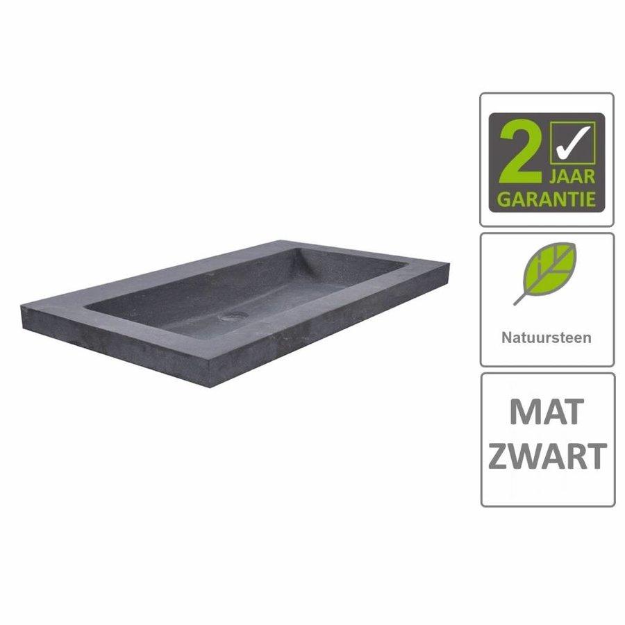 AQS Wastafel Hardsteen 60x46x5 cm 0 Kraangaten Mat Zwart