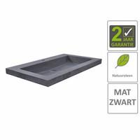 AQS Wastafel Hardsteen 60x46x5 cm 1 Kraangat Mat Zwart