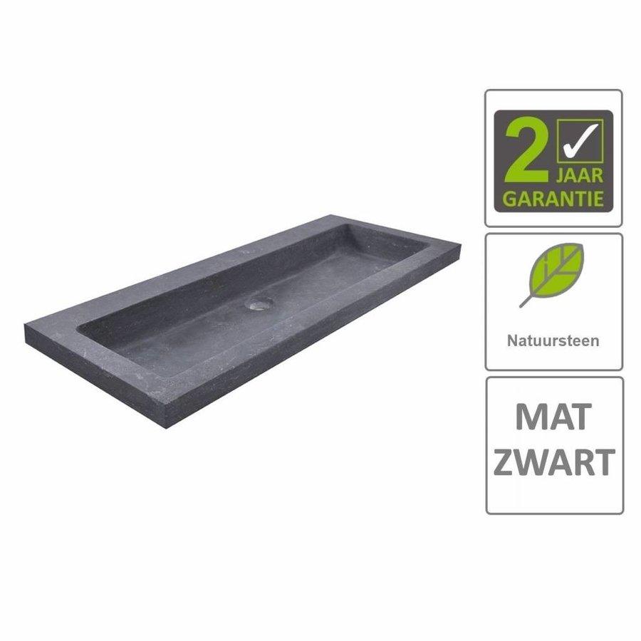 AQS Wastafel Hardsteen 100x46x5 cm 0 Kraangaten Mat Zwart