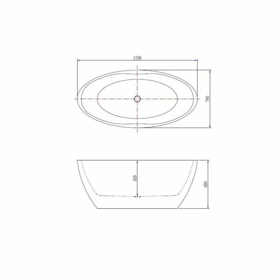 Vrijstaand Ligbad Wiesbaden Oval Acryl 170x78 cm Mat Wit