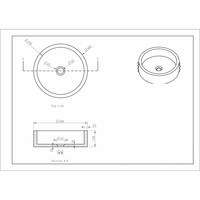 AQS Opzetwastafel Hardsteen Hamerslag Rond 40x12 cm Zwart