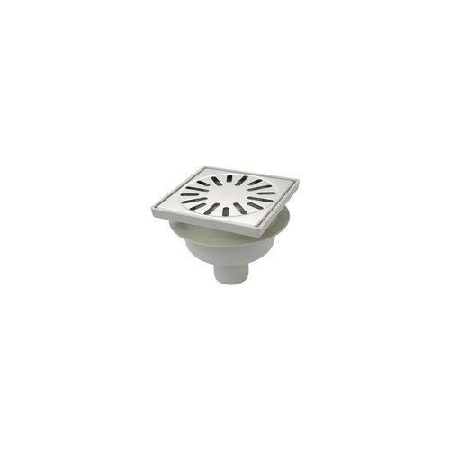 Doucheput Aquaberg ABS Vloerput RVS Rooster Onderuitlaat 50mm 150x150mm  PPC Reukafsluiter