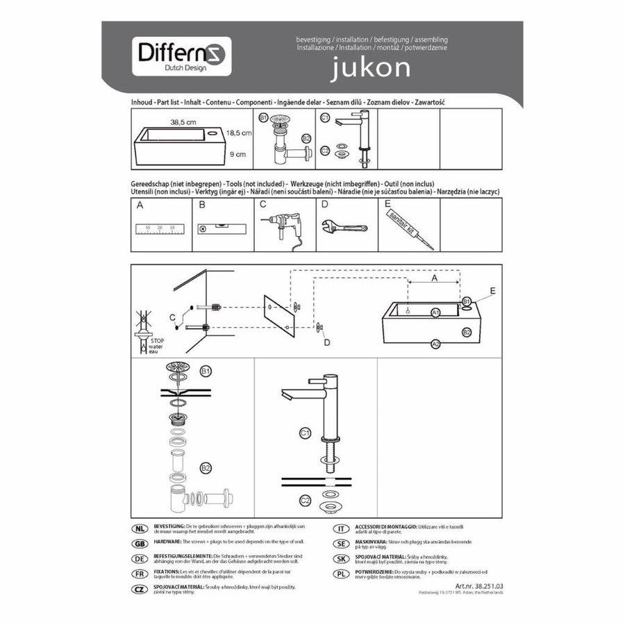 Fonteinset Differnz Jukon Rechts 38.5x18.5x9 cm Beton Grijs (inclusief mat zwarte kraan sifon en afvoer)