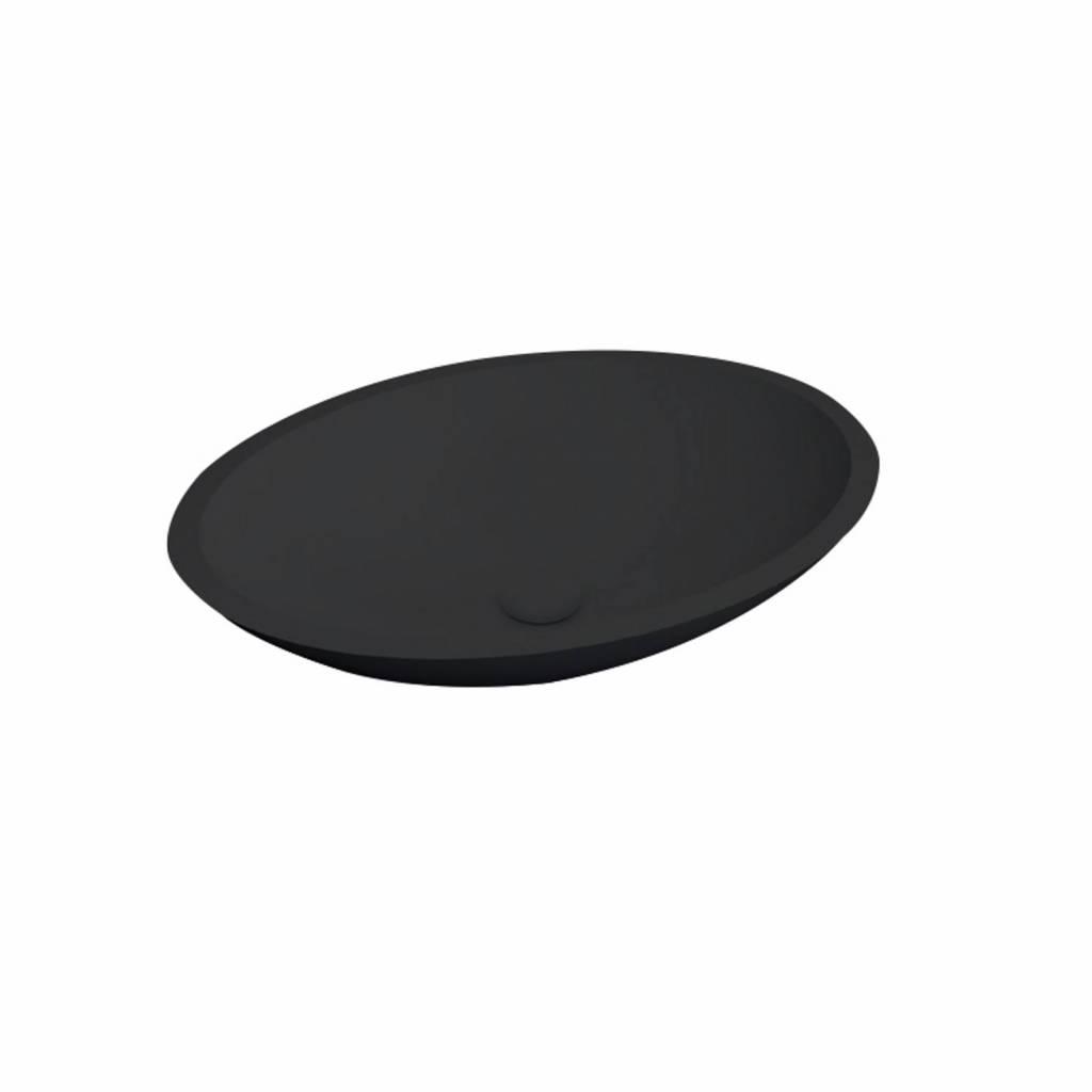 Waskom Best Design Epona Opbouw 52 cm Solid Surface Mat Zwart ADW Design