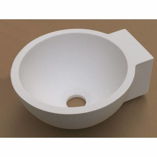 Fontein Luca Sanitair Wandmodel Rond 27x24x12cm Solid Surface Mat Wit