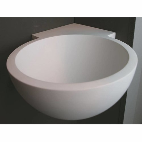 Hoekfontein Luca Sanitair Rond 28x28x12cm Solid Surface Mat Wit