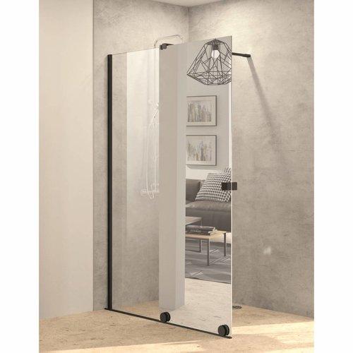 Inloopdouche met Schuifdeur AQS Pure Day 120x200 cm Links Spiegelglas Zwart