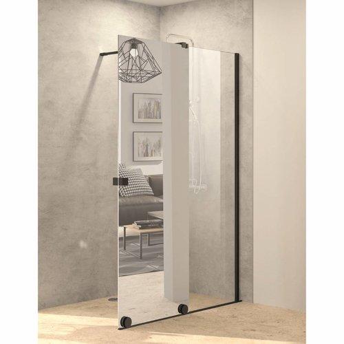 Inloopdouche met Schuifdeur AQS Pure Day 140x200 cm Rechts Spiegelglas Zwart