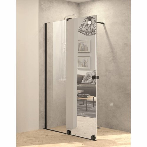 Inloopdouche met Schuifdeur AQS Pure Day 140x200 cm Links Spiegelglas Zwart