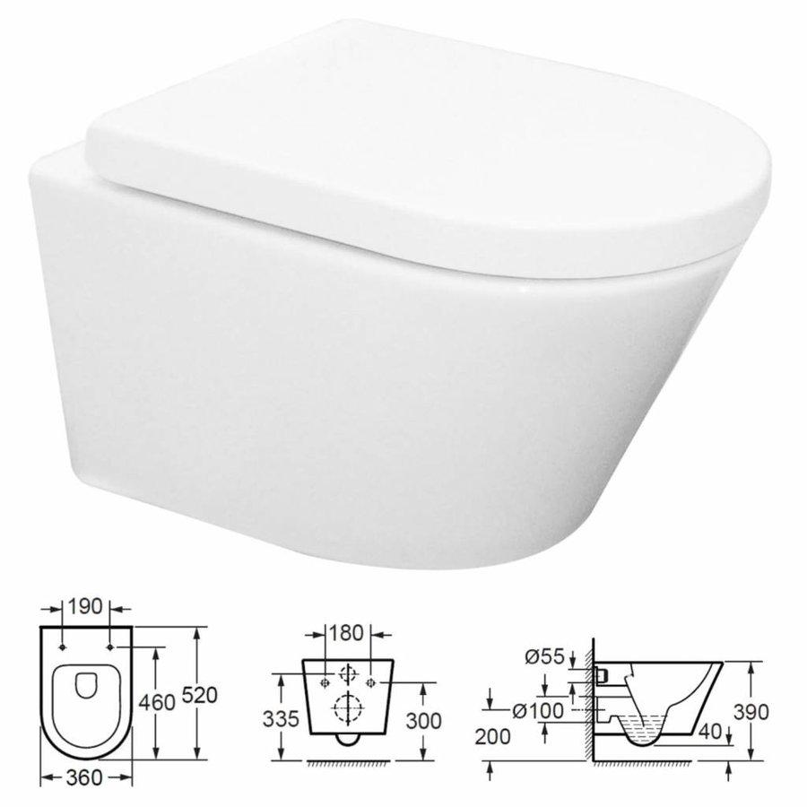 Sigma 8 (UP720) Toiletset 36 Aqua Splash Vesta Rimless Met Sigma Drukplaat