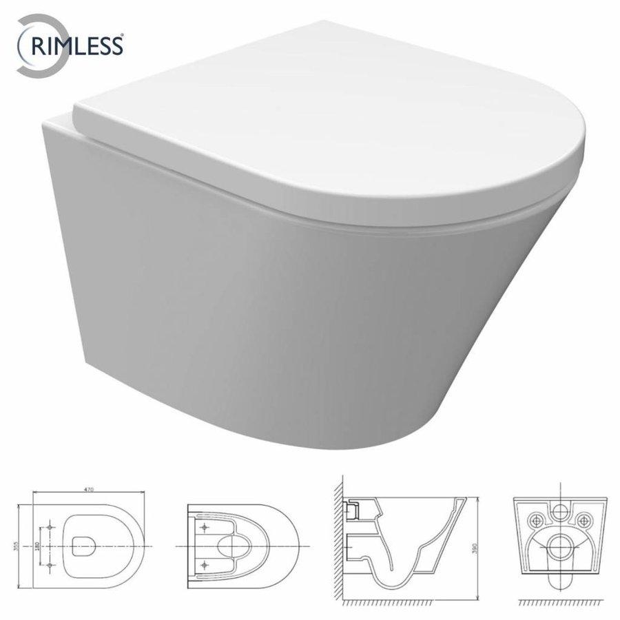 Sigma 8 (UP720) Toiletset 37 Vesta Junior Rimless 47cm Met Bril En Drukplaat