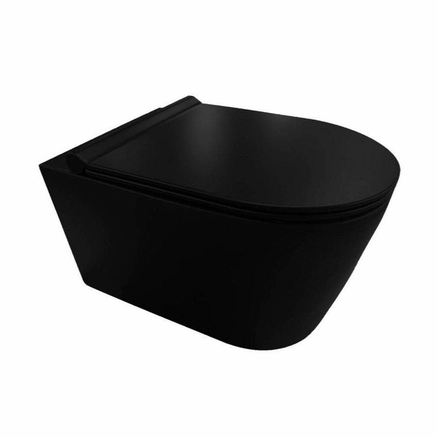 Sigma 8 (UP720) Toiletset 35 Civita Black Rimless Mat Zwart Met bril En Drukplaat
