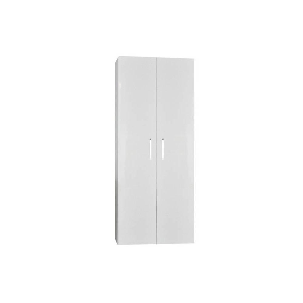 badkamer kolomkast Sanicare Q6/Q14 2-Deurs Soft-Closing Chromen Greep 160x67x32 cm Hoogglans Wit Sanicare