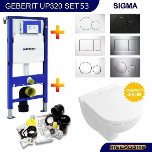 UP320 Toiletset 53 Villeroy & Boch O.Novo Compact Met Bril En Drukplaat