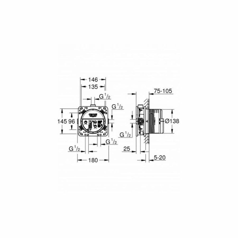 Grohe/Wiesbaden SmartControl Inbouw Doucheset Vierkant Met Hoofddouche 20cm en Handdouche Compleet