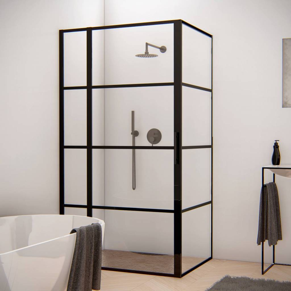 Douchecabine 80 X 100 Cm.Aqua Splash Douchecabine Frame 80x100 Cm Nano Glas Mat Zwart Raster