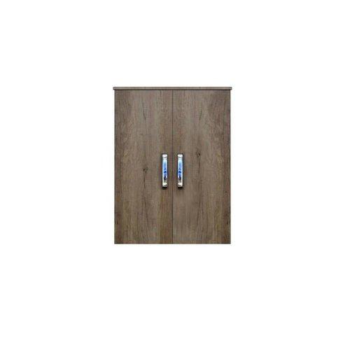 Kolomkast Dubbel Sanicare Soft-Closing Deuren Chromen Greep 90x67x32 cm Grey-Wood