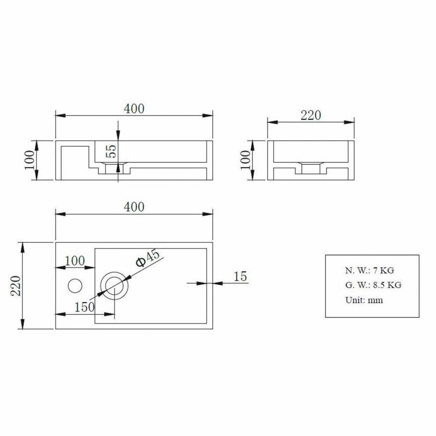 Fonteinset AQS Solid Black 40x22x10 cm met Mat Zwart Frame