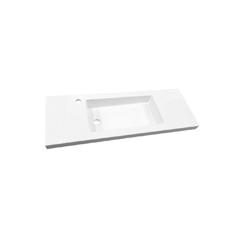 Wastafel Slim 100 cm Ondiep 35 cm Met Kraangat Glans Wit ADW Design