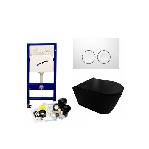 UP100 Toiletset 35 Civita Black Rimless Mat Zwart Met bril En Drukplaat
