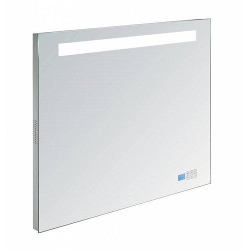 Badkamerspiegel met Radio Sanilux 80x70x4,5 cm TL-Verlichting Spiegelverwarming