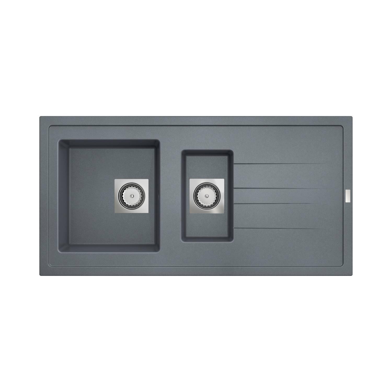 Inbouw Spoelbak Uitstortgootsteen Van Marcke Go Molto 98x50 cm Polyester Beton Grijs Go by Van Marcke
