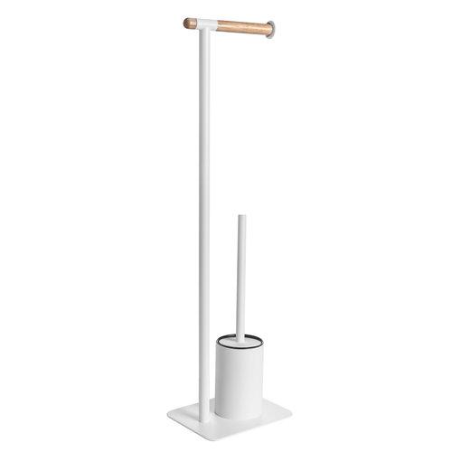 Toiletborstelhouder met Handdoekhouder Cipi Porta 20x77x16 cm Metaal Wit