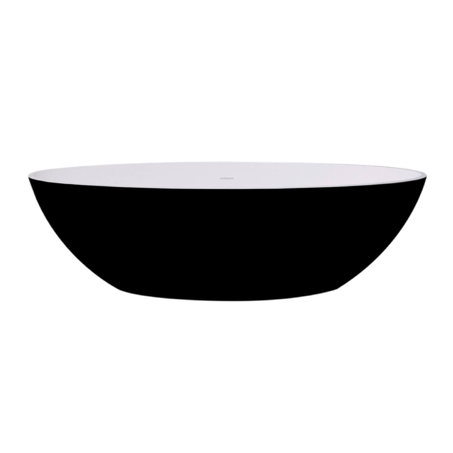 Vrijstaand Bad Best Design Solid Surface 180 x 85 cm Bicolor Mat Zwart/Wit