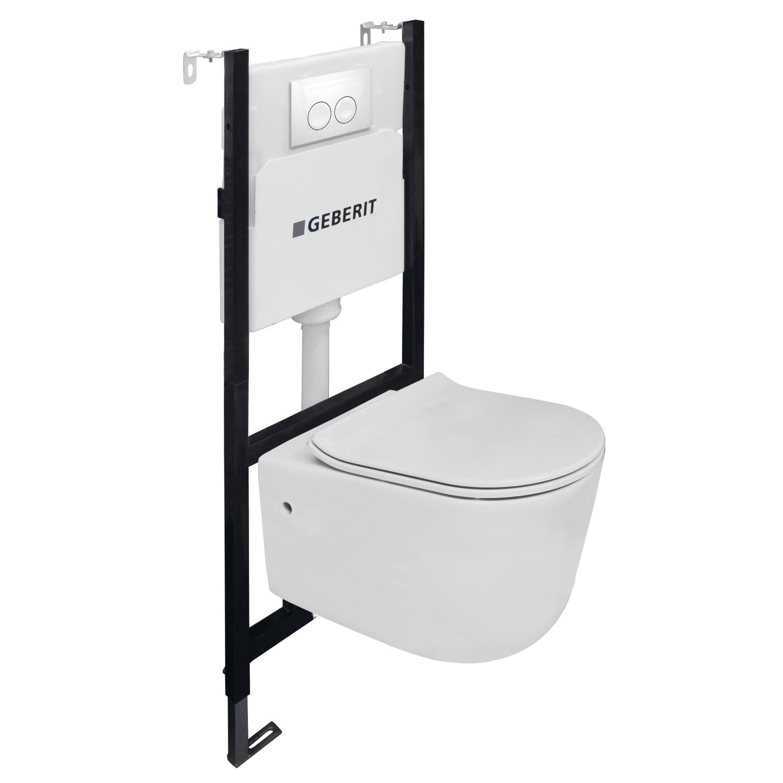 Toiletset Van Marcke Combo Up Pureflow Rimless Hang Wit Go by Van Marcke