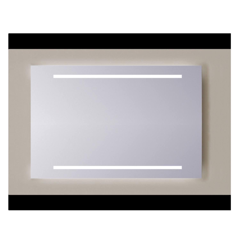 Spiegel Sanicare Q-mirrors Zonder Omlijsting 60 x 65 cm 2x Warm White LED PP Geslepen Sanicare