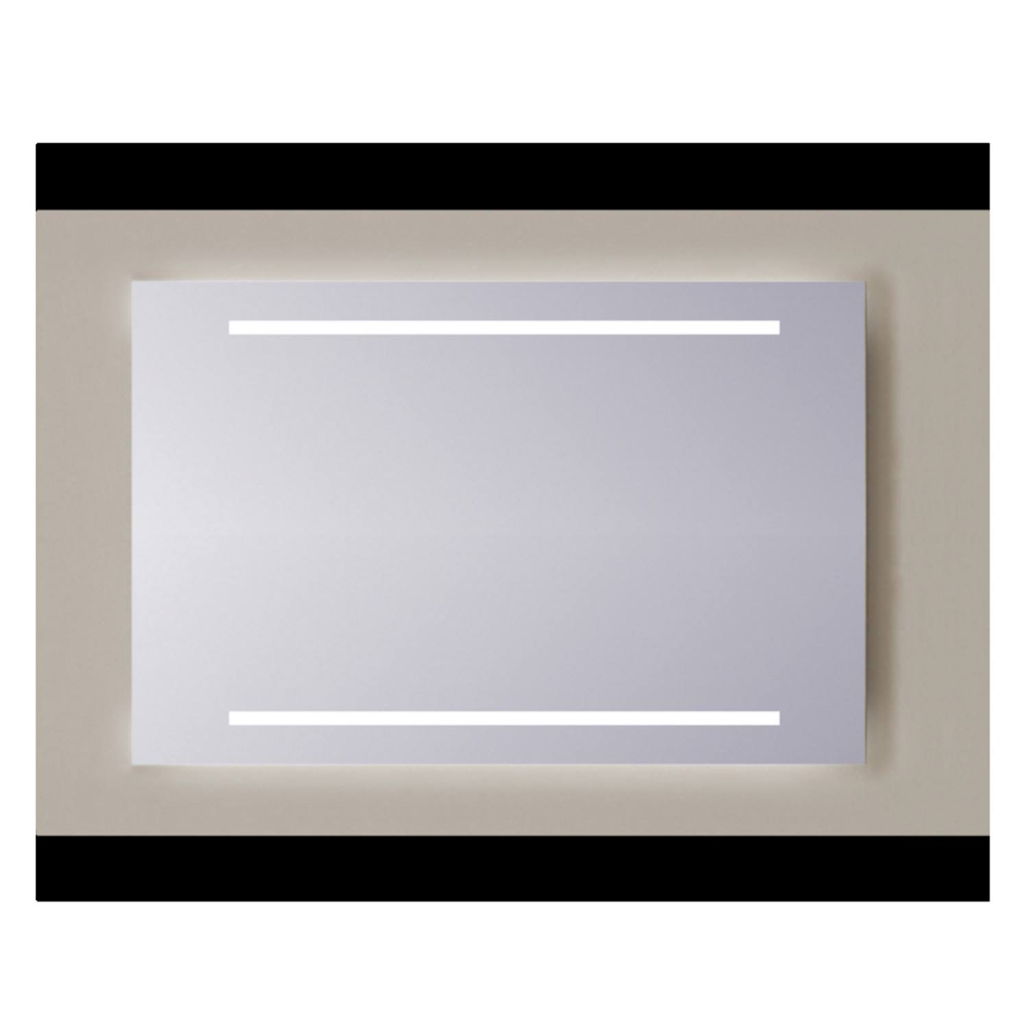 Spiegel Sanicare Q-mirrors Zonder Omlijsting 60 x 100 cm 2x Warm White LED PP Geslepen