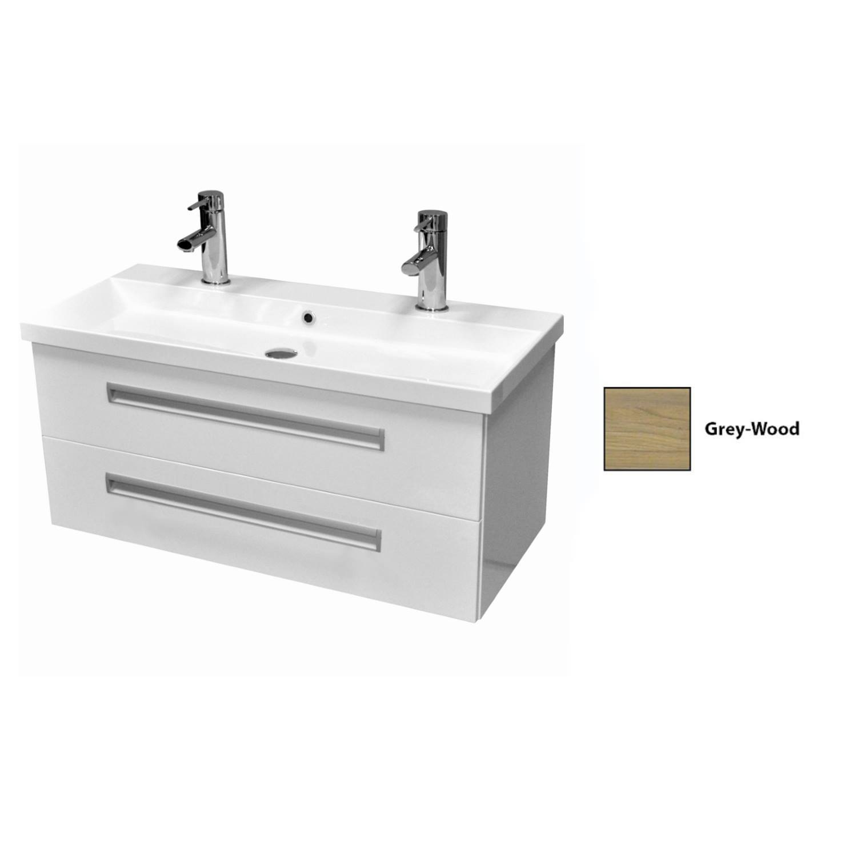 Onderkast Sanicare Q8 2.0 Twee Soft-Close Laden Chromen Greep 100x45 cm Grey-Wood