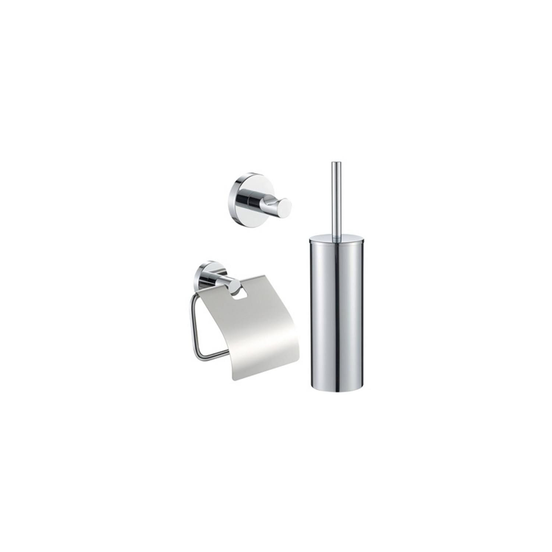 Toiletset Plieger Vigo Toiletborstelhouder met Handdoekhaak en Toiletrolhouder Chroom
