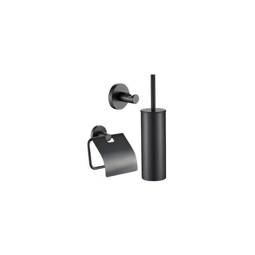 Toiletset Plieger Vigo Toiletborstelhouder met Handdoekhaak en Toiletrolhouder Mat Zwart