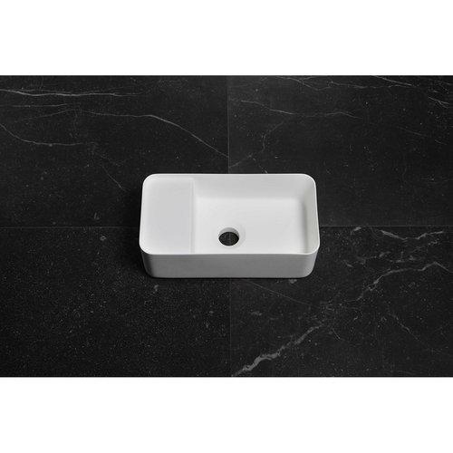 Fontein Luca Sanitair 35x18,5x12 cm Solid Surface Mat Wit (zonder kraangat)