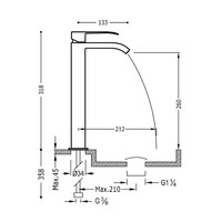 Wastafelmengkraan Tres Cuadro 1-Hendel Uitloop Gebogen 26 cm met Waterval Vierkant Mat Zwart