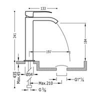 Wastafelmengkraan Tres Cuadro 1-Hendel Uitloop Gebogen 18 cm met Waterval Vierkant Mat Zwart