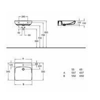 Rolstoelwastafel Sphinx Serie 280 65x55x15 cm Keramiek Wit (met kraangat en overloop)