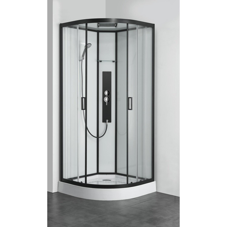Douchecabine Allibert Uyuni 225x90x90 cm Kwartrond Mat Zwart Schuifdeuren 4 mm Helder Glas Allibert