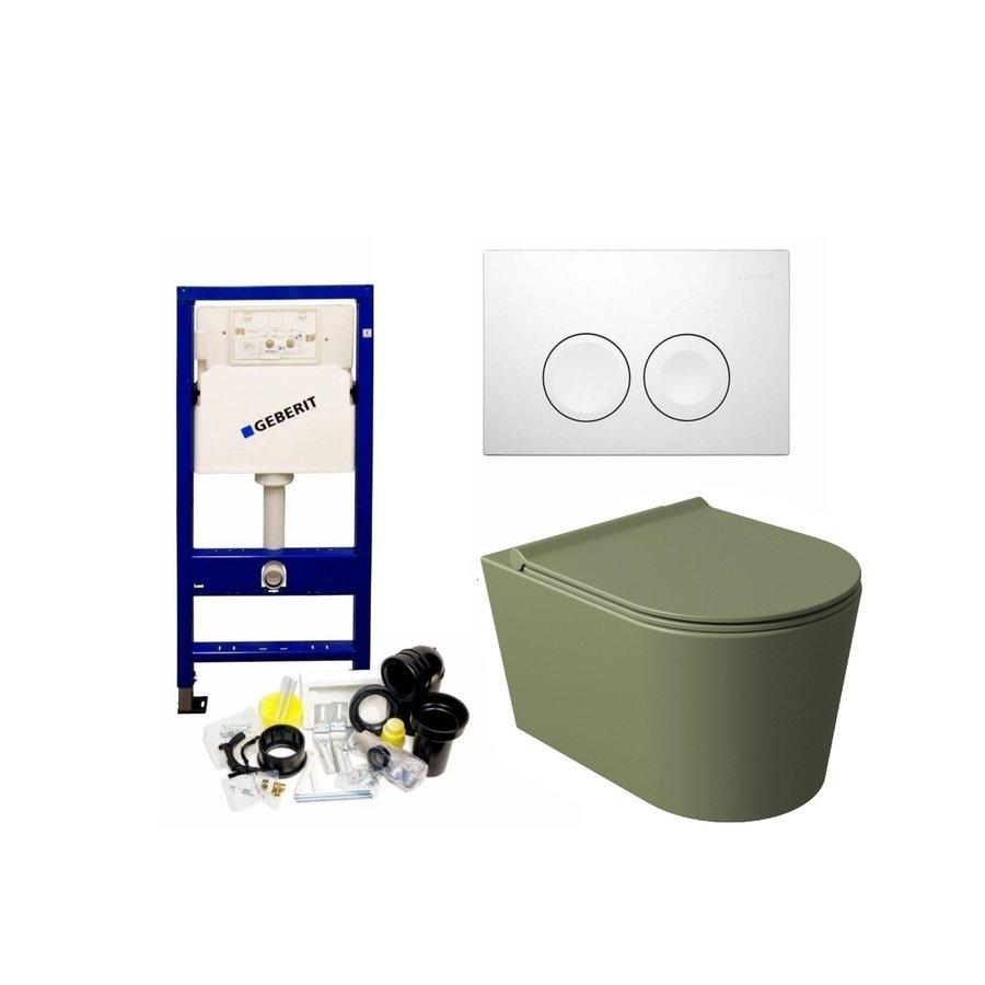 UP100 Toiletset 50 Civita Mat Legergroen Rimless Met bril En Drukplaat