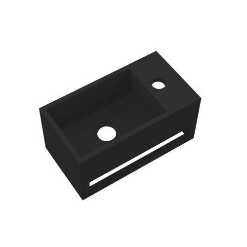 Fontein Best Design Mona-Black 33x18x16 cm incl. Handdoekhouder Rechts Solid Surface Mat Zwart