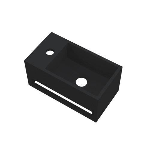 Fontein Best Design Mona-Black 33x18x16 cm incl. Handdoekhouder Links Solid Surface Mat Zwart
