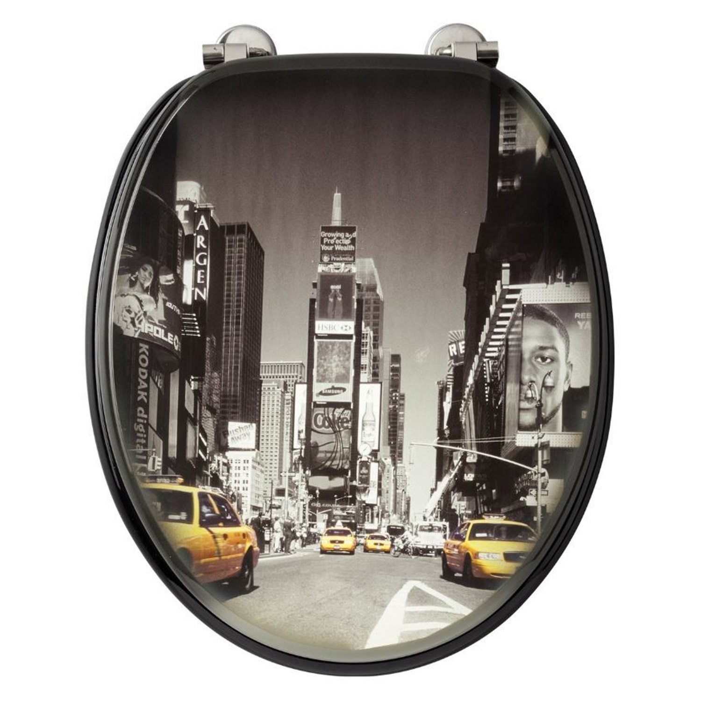 Toiletzitting Allibert Decor New York 37,3x5,6x44,8 cm MDF Inox Scharnieren Allibert