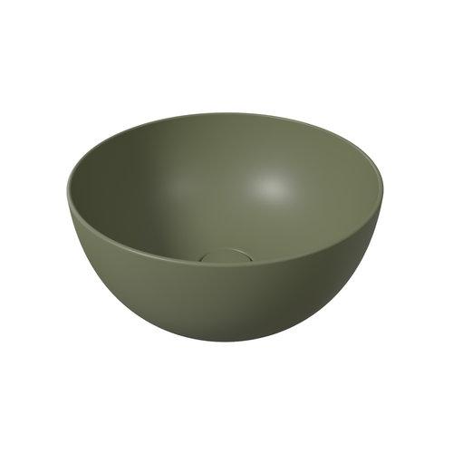 Ronde Wastafel Opbouw Salenzi Unica Round 40x20 cm Mat Legergroen (inclusief bijpassende clickwaste)