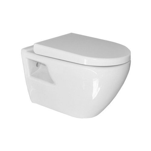 Wandcloset Sanicare Rondo met Soft-Close Toiletzitting Keramiek Quick Release 51x36 cm Wit