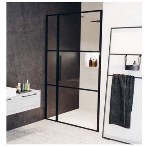 Douchedeur met Vast Paneel Riho Grid 110x200 cm 6 mm Helderglas Zwarte Profielen