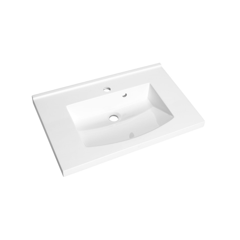 Wastafel Allibert Flex 70,2x46,2x4 cm met Kraangat Polybeton Glanzend Wit