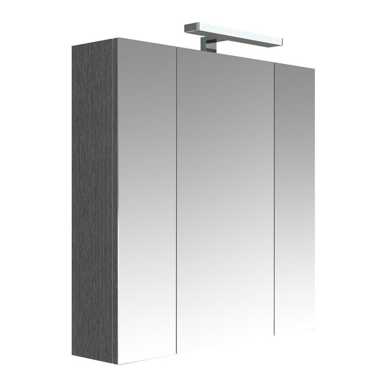 badkamer spiegelkast Allibert Juno Met Verlichting 70x75,2x16 Donkergrijze Eik Allibert